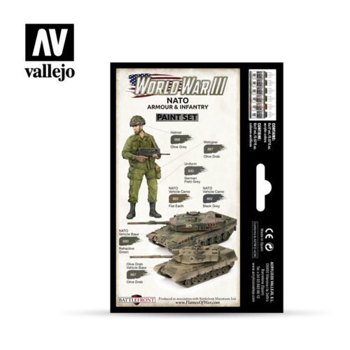 WWIII Paint Set NATO Armour & Infantry Vallejo Wargames Flames of War 70.223 Back
