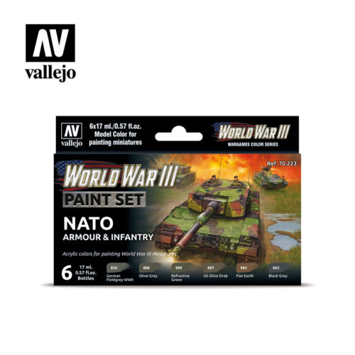 WWIII Paint Set NATO Armour & Infantry Vallejo Wargames Flames of War 70.223 Front