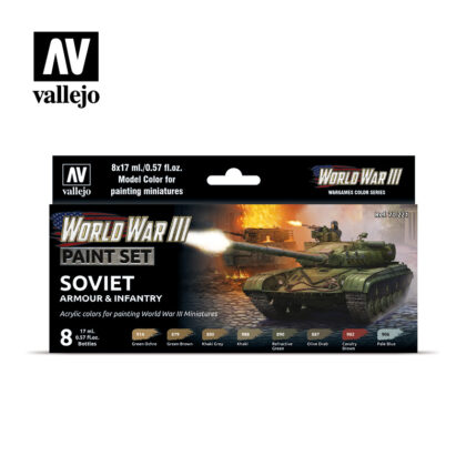 WWIII Paint Set Soviet Armour & Infantry Vallejo Wargames Flames of War 70.221 Front