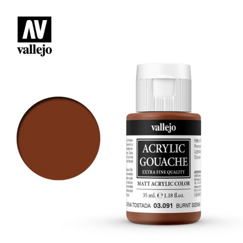 Acrylic Gouache Vallejo 03091 Burnt Sienna 35ml