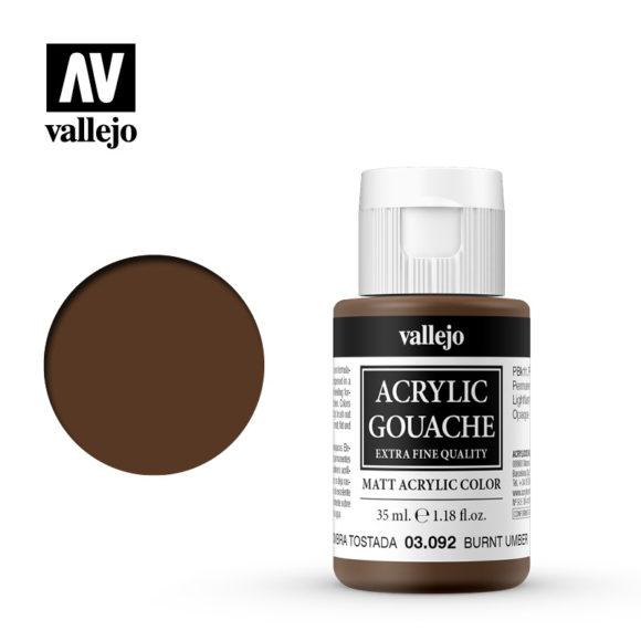 Acrylic Gouache Vallejo 03092 Burnt Umber 35ml