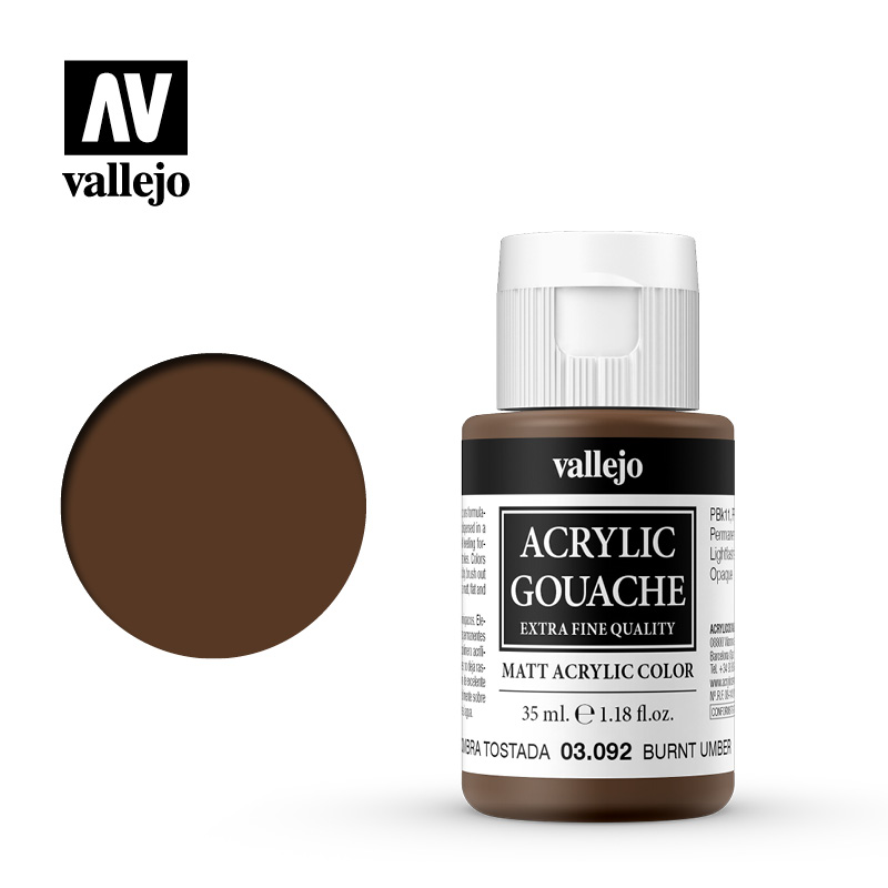 Acrylic Gouache Vallejo 03092 Burnt Umber 35ml