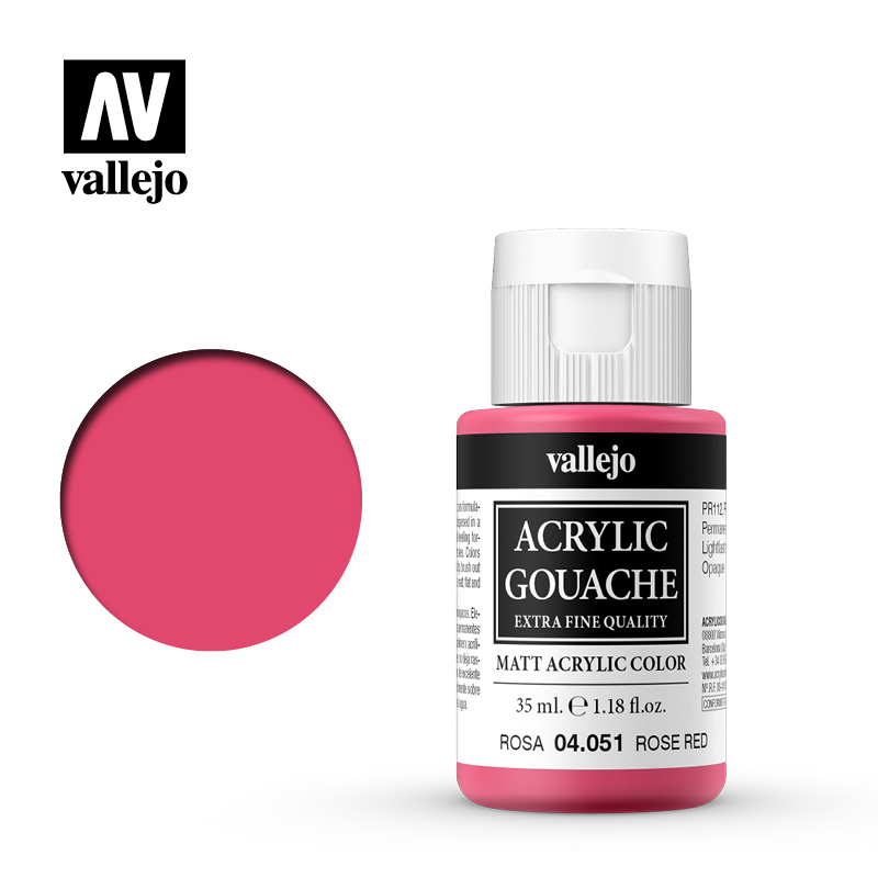 Acrylic Gouache Vallejo 04051 Rose Red 35ml