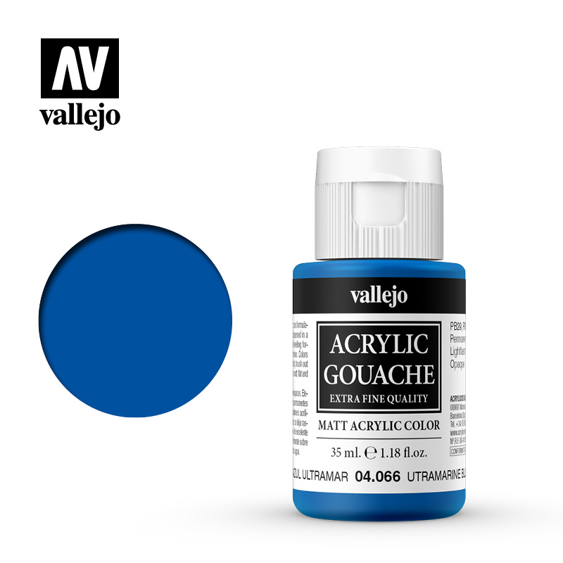 Acrylic Gouache Vallejo 04066 Ultramarine Blue 35ml