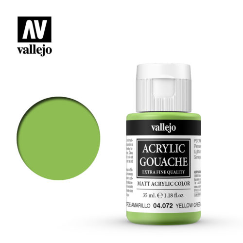 Acrylic Gouache Vallejo 04072 Yellow Green 35ml