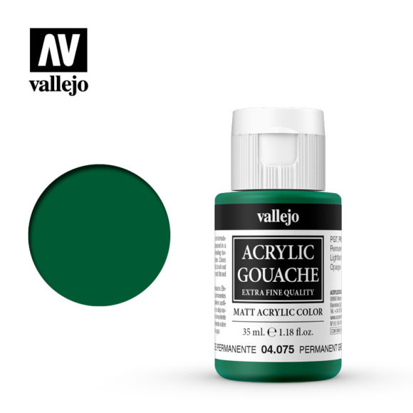 Acrylic Gouache Vallejo 04075 Permanent Green 35ml