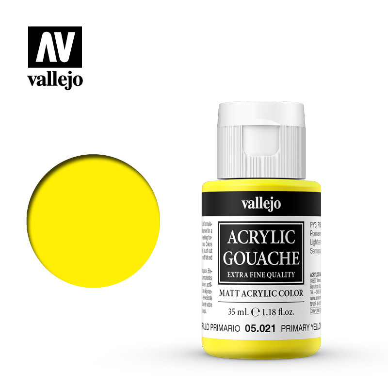 Acrylic Gouache Vallejo 05021 Primary Yellow 35ml