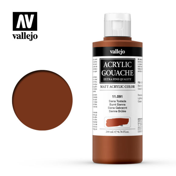 Acrylic Gouache Vallejo 11091 Burnt Sienna 200ml