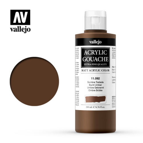 Acrylic Gouache Vallejo 11092 Burnt Umber 200ml