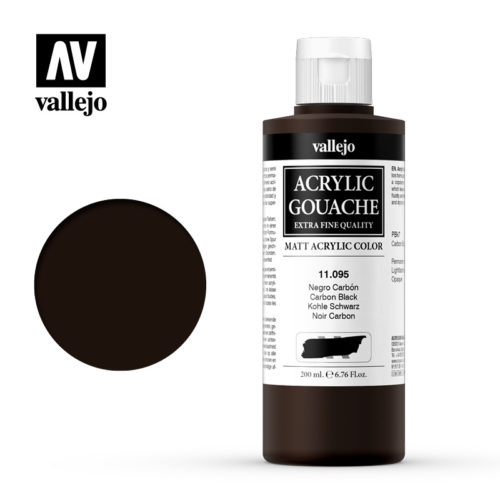 Acrylic Gouache Vallejo 11095 Carbon Black 200ml