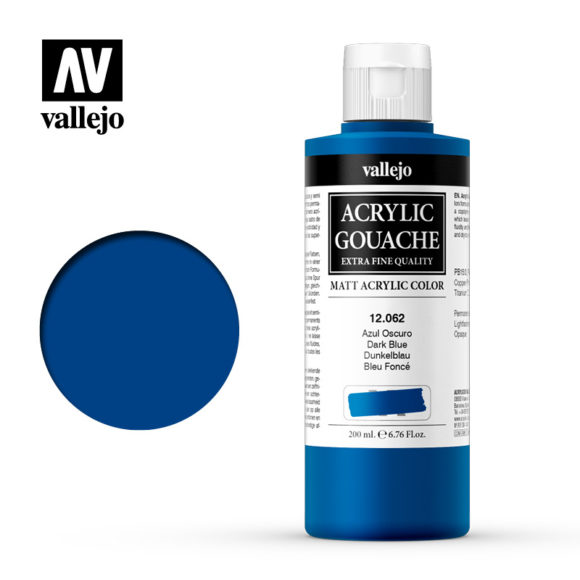 Acrylic Gouache Vallejo 12062 Dark Blue 200ml