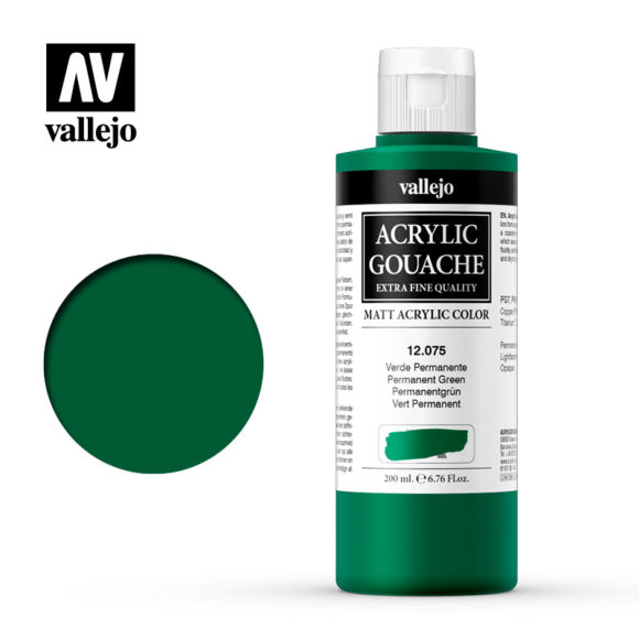 Acrylic Gouache Vallejo 12075 Permanent Green 200ml