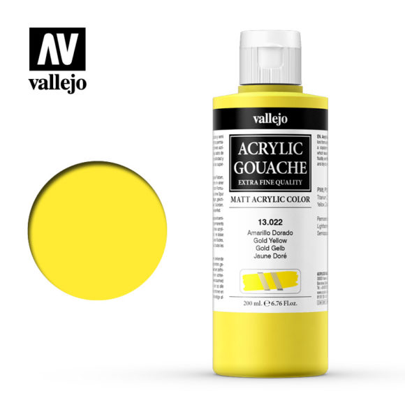 Acrylic Gouache Vallejo 13022 Gold Yellow 200ml