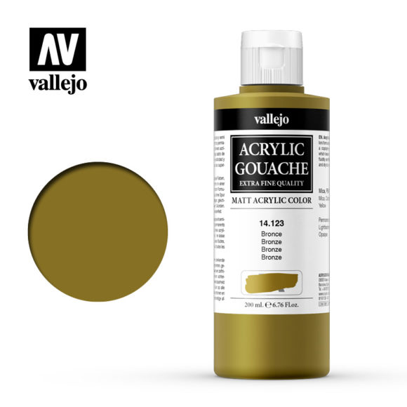 Acrylic Gouache Vallejo 14123 Bronze 200ml