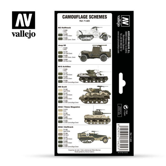 WWII US Army Europe North Africa 1942-1945 Vallejo AFV 71625 Back