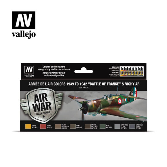 "Armée de L'Air colors 1939-1942 ""Battle of France"" & Vichy AF Vallejo Air War 71626"
