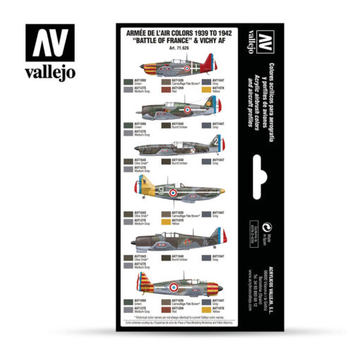 Armee de L'Air Colors 1939-1942 Battle of France & Vichy AF Vallejo Airwar 71626 Profiles