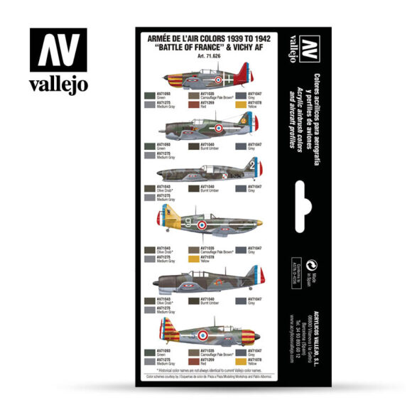 Armee de L'Air colors 1939-1942 Battle of France & Vichy AF Vallejo Air War 71626