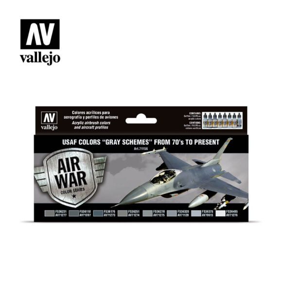 """USAF colors """"Grey Schemes"""" from 70's to present Vallejo Ai War 71156"""