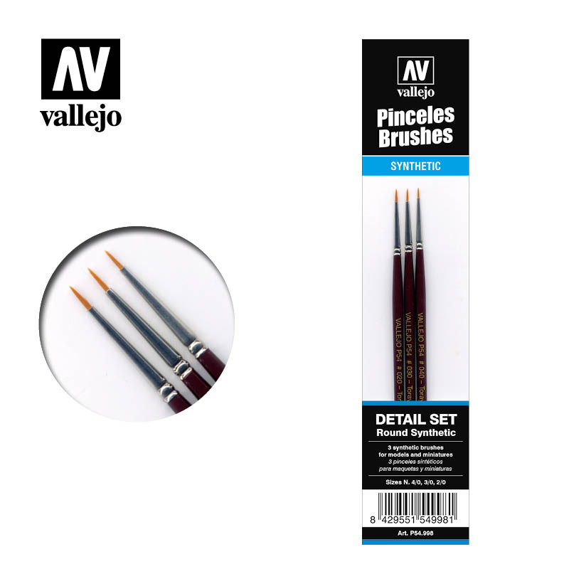 Brush Synthetic Round Vallejo Detail Set P54.998