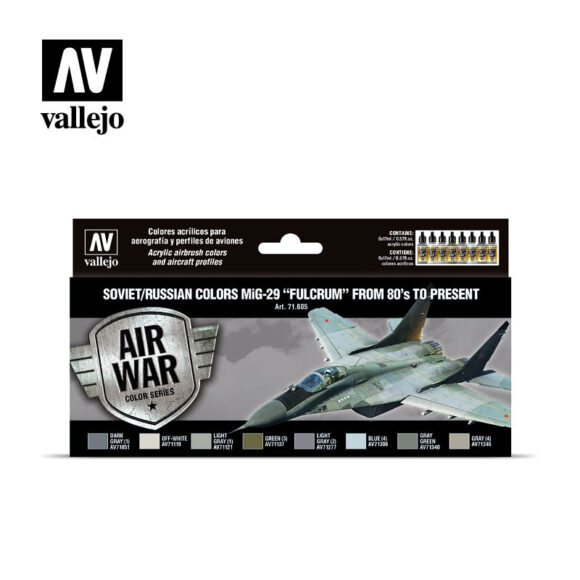 """Soviet/Russian colors MiG-29 """"Fulcrum"""" from 80's to present Vallejo Airwar 71605"""